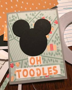 My Disney character card for a swap I'm in. Lift Me Up DSP Layering Circles frame lots and a random alphabet stamp set I had lying around.  I really love how fun & simple this one is! #stampinup #stampinupdemo #stampinupdemonstrator #mickeymouse #disney #cardmaking #handmade #imadethis
