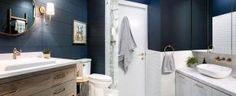 Top 50 of the Best Shiplap Bathroom Ideas - Nautically Inspired Interior Walls Top 50 Best Shiplap Bathroom Ideas - Nautical Inspired Wall Interiors, Blue Bathroom Vanity, Grey Bathroom Tiles, Shiplap Bathroom, Grey Bathrooms, Bathroom Interior, Small Bathroom, Bathroom Ideas, Interior Walls, Bathroom Canvas