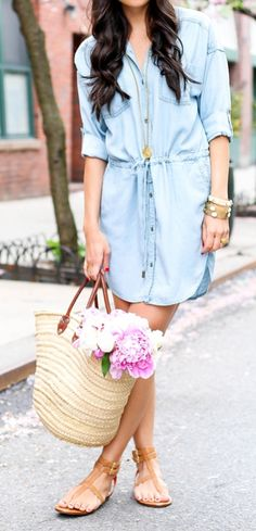 Tan summer sandals, denim dresses, and flowers in your bag — that's what Spring days are made of.