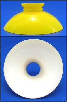 Yellow & White Milk Glass Vintage Style Student, Aladdin, Hanging Oil Lamp Shade