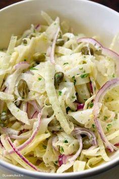 Venkelsalade van Bill Granger - LoveMyFood Best fennel salad I've ever tasted! By Bill Granger Bill Granger, Healthy Recepies, Healthy Food, Healthy Salads, Fennel Salad, Good Food, Yummy Food, Weekday Meals, Convenience Food