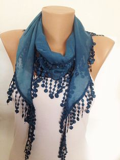 ON SALE  Teal Scarf  Green Lace Scarf  Scarves  Neck by MaxiJoy, $14.00
