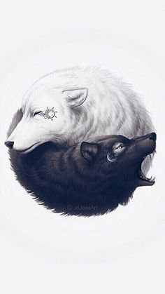 Wolf tattoos, images, designs and meanings - lobos :D - İmages Wolf Tattoos, Teen Wolf Tattoo, Small Wolf Tattoo, Yin Yang Tattoos, Arte Yin Yang, Yin Yang Art, Fantasy Wolf, Dark Fantasy Art, Wolf Wallpaper