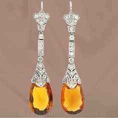 Art Deco citrine and diamond earrings. 1935+