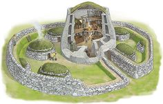 Broch - Illustration by Mark Stacey - Artists in Cornwall UK Fantasy City, Fantasy Map, Ancient Buildings, Ancient Architecture, Iron Age, Fortification, Prehistory, Fantasy Landscape, Dark Ages