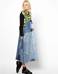 Ashish Dungaree Dress in Patched Denim
