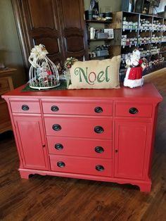 1940's Duncan Phyfe ❤❤❤ picked & refinished by Kristi & Pieces Of Time, love love love  ***1940's Duncan Phyfe Buffet finished in Razorback Red and Matte Protective Finish. Measures 50L x 19D x 35H