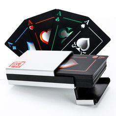 55 Cartes Ensemble Noir Cartes À Jouer En Plastique Noir Elf Poker Celebrity Poker Cartes à Jouer Étanches Carte Papier Ou Boîte En Métal