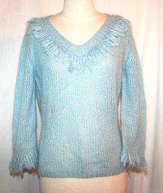 Anthropologie Moth Baby Blue Mohair Blend Pullover Sweater