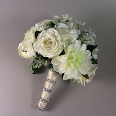 White wedding bouquet, white Bridal bouquet, Silk wedding bouquet Silk bridal bouquet,  Rose bouquet, Dahlias bouquet Dahlia Bouquet, Silk Bridal Bouquet, Silk Wedding Bouquets, Bridesmaid Bouquet, Corsage And Boutonniere, Groom Boutonniere, Made Of Honor, Dusty Miller, Cream Roses