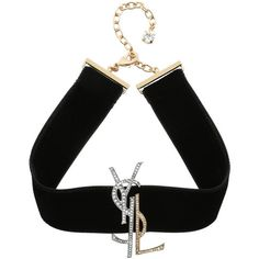 Saint Laurent Jewellery - Monogramme Chocker Black Gold Strass - in... (€785) ❤ liked on Polyvore featuring jewelry, black, yellow gold jewelry, gold jewellery, yves saint laurent, yves saint laurent jewelry and gold jewelry
