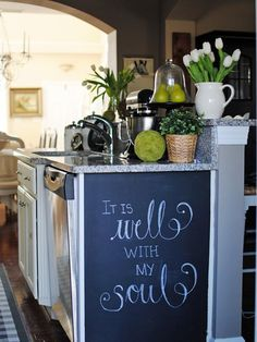 Chalkboard Paint Ideas for the Kitchen: Jennifer Holmes liked the idea of a chalkboard wall but didnt have a suitable space so she painted the side of her island.   From DIYnetwork.com
