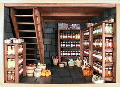 25 ideas for food storage room ideas homestead survival Miniature Rooms, Miniature Kitchen, Miniature Furniture, Food Storage Rooms, Storage Ideas, Storage Baskets, Survival Supplies, Larder, Homestead Survival