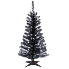 National Tree Company 4 ft. Black Tinsel Artificial Christmas Tree with Clear Lights-TT33-304-40 - The Home Depot