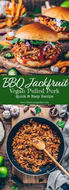 This quick and easy BBQ Jackfruit Pulled Pork Recipe is a tasty vegan meat substitute for burger, sandwiches, tacos, and vegan gyros tortilla wraps with Tzatziki! It's loaded with flavor, to Jackfruit Burger, Jackfruit Pulled Pork, Pulled Pork Burger, Vegan Pulled Pork, Pork Burgers, Pulled Pork Recipes, Jackfruit Vegan Recipes, Bbq Burger, Meat Recipes