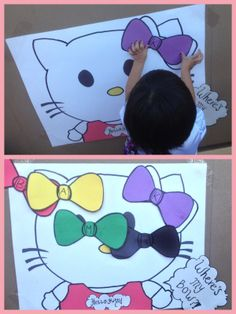 Diy Hello kitty birthday party game ! where's my bow (pin the bow on the kitty :)