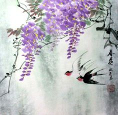 100 Original Asian Art Chinese Watercolor Painting Spring Flower Swallow Birds | eBay