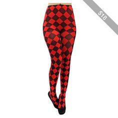 Red & Black Jester Diamond Harlequin Tights
