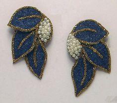 Magnetic Earrings in Blue Denim and Pearls by LauraWilsonGallery, $50.00