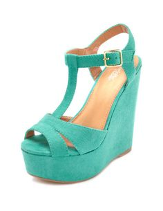 Sueded T-Strap Wedge Sandal. I saw a wedge almost identical to this at Fashion for Paws and I was crushing on it hard!