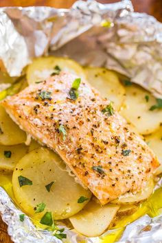 Easy Salmon and Potato Foil Packets  - CountryLiving.com