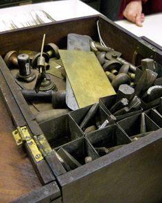 Tools used for Calico Print Engraving. From archive at Slater Mill in Pawtucket, RI