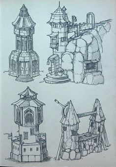 ArtStation - some towers, Zora Kastner Environment Sketch, Environment Design, Art Sketches, Art Drawings, Buildings Artwork, Pix Art, Game Concept Art, Building Art, Environmental Art