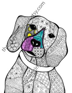 zentangle dog colouring page animal colouring by TheColoringAddict