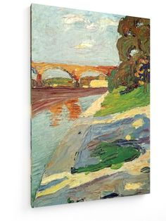 Wassily Kandinsky - Isar at Großhesselohe #Wassily #Kandinsky #weewado #wassily #kandinsky #bridge #landscape