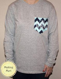 Womens Monogram Pocket T-shirt Tee via Etsy shop:  Making Meri!