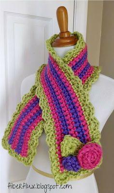 Fiber Flux...Adventures in Stitching: Free Crochet Pattern...Little Miss Flower Scarf!