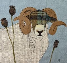 Pig embroidery      Ram      Chickens   framed usual my usual method of stretching over a canvas so the picture wraps around the sides.