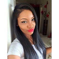 Sunwell 100% Virgin Human Hair Light Yaki Natural Black Straight Lace Wigs For Black Women 16 Inch