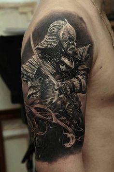 Samurai tattoo this is the other one but i will have the japanese flag in back ground. - http://tattoomods.com/body