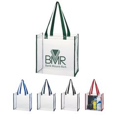 Custom Imprinted Clear Tote Bags, Clear Security Tote Bag with Your Logo, See Thru Tote