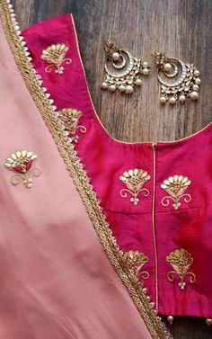 Featuring a light peach saree in georgette base with hand embroidered gota patti and zardozi motifs all over. It is paired with fuschia blouse in dupion with matching embroidery on sleeves and back/front. Embroidery Suits Punjabi, Zardozi Embroidery, Indian Embroidery, Folk Embroidery, Peach Saree, Pink Saree, Yellow Lehenga, Organza Saree, Georgette Sarees