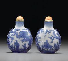A Blue glass overlay snuff bottle 1750-1820