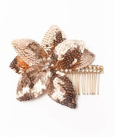 rose gold flower comb. perfect for the holidays