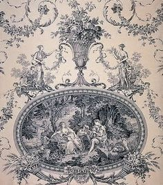 Love this representation of French wallpaper! (Toile du Jouy joli made in… French Wallpaper, Fabric Wallpaper, French Decor, French Country Decorating, French Interior, Azulejos Art Nouveau, French Rococo, French Fabric, Shabby