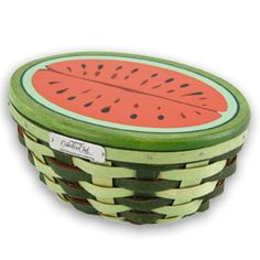 2010 Longaberger Collectors Club Watermelon basket and woodcrafts lid.  Great for summer barbeques.