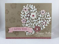 Megumi's Stampin Retreat, Stampin' Up! Bloomin' Love Stamp Set, Stampin' Up! Love Blossoms DSP, Stampin' Up! Bloomin' Heart Thinlits, Envelope Punch Board, Stampin' Up! Large Numbers Framelits, 2016 Stampin' Up! Occasions Catalog