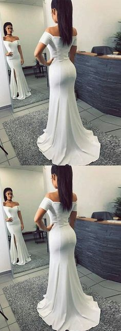 Simple Mermaid Off-The-Shoulder Split Front White Long Prom Dress by MeetBeauty, $119.36 USD