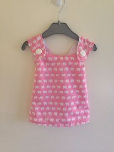 Handmade Pink and white crossover baby dress on Etsy, $18.00