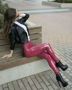 Liquid Leggings Wet Look Leggings Ripped Leggings Pleather leggings High Waisted Leather Pants with Cutouts and Mesh on Knees Ripped Leggings, Wet Look Leggings, Shiny Leggings, Leggings Are Not Pants, Mode Latex, Leather Pants Outfit, Leather Sneakers, Leder Outfits, Fashion Moda