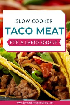 Make this simple slow cooker taco meat recipe and easily feed a large group. Easy, delicious, and perfect for women's retreats. #slowcooker #tacomeat #crockpotrecipe Slow Cooker Tacos, Slow Cooker Recipes, Meat Recipes, Crockpot Recipes, Large Group Meals, Christian Retreat, Paleo, Women's Retreat, Cooking