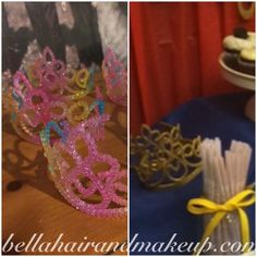 Dollar store crowns that I painted gold #birthday#party#snowwhite