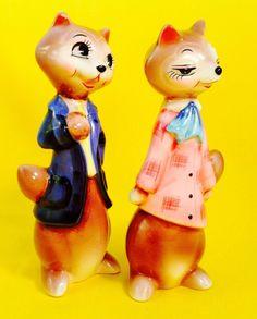 Fantastic Mr. Fox Vintage Anthropomorphic Salt and Pepper Shakers Norcrest Tall | eBay