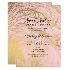Gold pink marble typography Sweet 16 Card - birthday cards invitations party diy personalize customize celebration