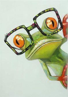 Peinture à l'huile colorée avec image d'une grenouille