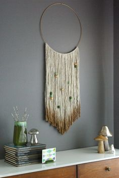 Oleander and Palm: DIY Gold Dipped Yarn Hanging